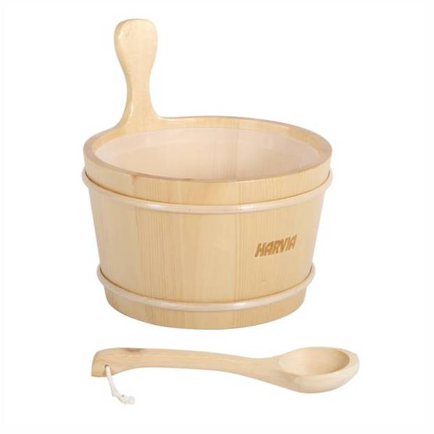 Wooden buckets and ladles